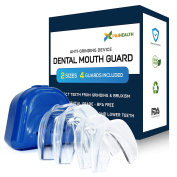 P & J Health Anti Grinding Teeth Custom Moldable Dental Night Guard for Bruxism,Tmj & Teeth Clenching. Pack of 4 Guards in 2 Sizes for Custom Fit-BPA Free!!!