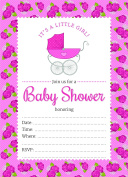 24 Pink Carriage Roses Girl Baby Shower Invite and 24 White Envelopes