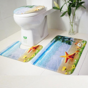 YRD TECH F3pcs/set Bathroom Non-Slip Blue Ocean Style Pedestal Rug + Lid Toilet Cover + Bath Mat