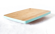 Bamboo Cutting Board with Teal Border. Brings simple elegance to your kitchen. Small-medium size. Wooden with Cut Out Handle.