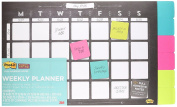 Post-it Weekly Planner, 18 X 12, 26 Weeks W/6 Pads Of 2 X 2 Super Sticky Notes