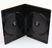 Black Double Dvd Case - 14mm Spine - Cd Dvd Bluray -