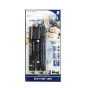 Staedtler Lumocolor Permanent Pens X4 Superfine + Fine + Duo + Marker Black