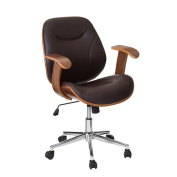 Bonsoni Bentwood/brown Leather Effect Height Adjustable Office Chair With Arms B