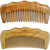 LiveZone Handmade Natural Green Sandalwood 2-Count(Minute Tooth and Wide Tooth Wood Comb) Wooden Hair Comb No Static Comb Pocket Comb with Natural Wood Aromatic Scent 12cm , Wood Colour