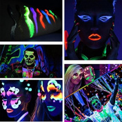 Amareu Glow in Dark Body Paint Body & Face Glow Backlight Neon Fluorescent 10ml Set of 6 Tubes