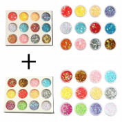 DIY 12 Colours 2 Sets of Flower & Star Iridescent Glitter Sequins Spangle for Nail Art Tip Deco Crafts Project