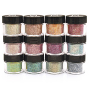 Cosmetic Glitter Powder Kit (12 PK) - A Custom Hand Mixed blend of Fine Glitter Dust Safe for Skin! Loose Glitter for Makeup, Hair, Lips, Soap, Lotion, Tattoos & Nail Art -