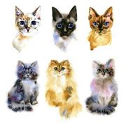 Set of 2 Waterproof Temporary Fake Tattoo Stickers Watercolour Yellow Grey Cat Design