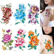 HairPhocas 6 Sheets Fashion Body Art Stickers Removable Waterproof Temporary Tattoo Rose Peony Flower Morning Glory for Women
