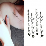 Oottati Small Cute Temporary Tattoo Bird Crown English Word Quote This Too Shall Pass