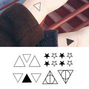 Oottati Small Cute Temporary Tattoo Triangle Star Geometry