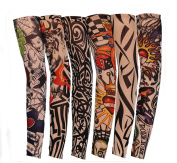 Flyusa 6 Pcs Fake Temporary Tattoo Sleeves Body Art Arm Sunscreen Sleeves Stockings with Different Designs Skull, Dragon,Tribal ,Crown,Fish and Etc