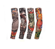 Flyusa 4 Pcs Fake Temporary Tattoo Sleeves Body Art Arm Sunscreen Sleeves Stockings with Different Designs Skull, Dragon,Tribal ,Crown,Fish and Etc