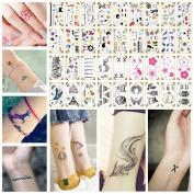 Oottati 36 Sheets Small Cute Temporary Tattoos Fox Lotus Owl Eye Ice Cream Crown Deer Wing Scissors