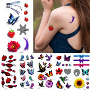 6 Sheets 3D Coloured Drawing Temporary Tattoo Sticker for Women Body Chest Arm Art Decal