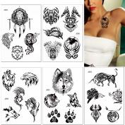 5 Sheets Fake Black Wolf Pattern Temporary Tattoo Sticker