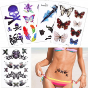 5 Sheets Cool Flash Glitter Temporary Tattoo Sticker for Beauty Women Body Art Water Transfer