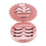 Odeer 2017 Acrylic Cute Bow False Eyelash Storage Box Makeup Cosmetic Mirror Case Organiser Pink