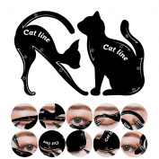 Hisight 2 in 1 Cat Eyeliner Stencil, Smoky Eyeshadow Applicators Template Plate, Matte PVC Material Professional Multifunction Repeatable Use Shape Eye liner & Eye Shadow Guide Template