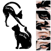 Bysiter 2 in 1 Cat Eyeliner Stencil, Smoky Eyeshadow Applicators Template Plate, Matte PVC Material Professional Multifunction Eyeliner card Shape Eye liner & Eye Shadow Guide Template