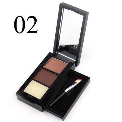 MeNow 3 Colour Natural Eyebrow Powder Tint Eyeshadow Dedicated Brush Makeup 2Kind (#02)