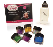 6 Colour Holographic Eyeshadow Body Glitters with Adhesive Primer by Pinky Petals