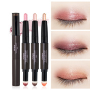 Sunvy 3pcs Cream Eyeliner Eye shadow Pencil Lying Silkworm Big Smokey Eyes Shimmer Automatically Rotate Makeup Glitter Air Cushion Eye Liner Pen Double Colour Waterproof Cosmetic Eyeshadow