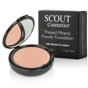 SCOUT Cosmetics Pressed Powder Foundation with Vitamin E & Jojoba Camel