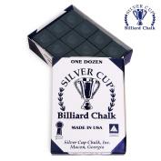SILVER CUP Pool cue Billiard Premium CHALK - ONE DOZEN - BLACK