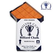 SILVER CUP Pool cue Billiard Premium CHALK - ONE DOZEN - ORANGE