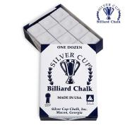 SILVER CUP Pool cue Billiard Premium CHALK - ONE DOZEN - WHITE