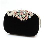 Vktech Fashion Crystal Diamond Handbag Evening Bag Purse Elegant Peacock Clutch