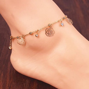 Jesica Women Vintage Jewellery Hollow Flower Rose Multi Chain Alloy Anklets