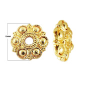 18K Gold Overlay Bead Cap CG-141-12MM