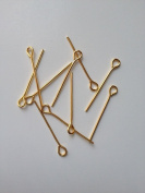 700 pcs Gold Plated Eye Pins Jewellery Findings 22mm Pin Tools Supply Making