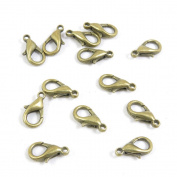 15 PCS Jewellery Clasps Ancient Antique Bronze Fashion Jewellery Making Crafting Charms Findings Bulk for Bracelet Necklace Pendant A00036 Chain Lobster Clasps
