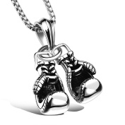 Owill Men's Stainless Steel Pendant Pair of Boxing Gloves Pattern Necklace/Sport Fitness