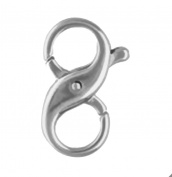 Sterling Silver Infinity Figure Eight Lobster Clasp 10 x 15.5mm Large