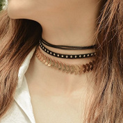 Chicer Gold Multilayer Necklace , Fashion Choker Necklace for Women & Girls.