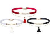 Tpocean 3 PCS Black White Red Velvet Chokers Set Gold Chain Tassel Double Layers Choker Necklaces Women Girls 90s