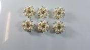 6pcs Brooch Pin Decorative Rhinestone Pearl Flower Bead Buttons Craft Embellishment for Wedding Clothes Hair Accessories Gift Decor (Silver).
