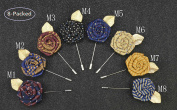8-Packed Handmade Rose Brooch Lapel Pins Boutonniere Stick Corsage for Gentleman Dress or Suit in Formal Occasion