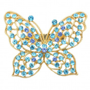 USIX Pack of 3 Winged Butterfly Rhinestone Crystal Brooch Pin for Dress, Suit, Sweater Embellishments, DIY Wedding Bouquet Cake Dress Corsage Boutonniere Decoration