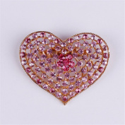 USIX Pack of 3 Floriated Heart Shaped Rhinestone Crystal Brooch Pin for Dress, Suit, Sweater Embellishments, DIY Wedding Bouquet Cake Dress Corsage Boutonniere Decoration