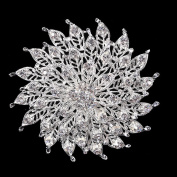 USIX Pack of 3 Floriated Round Rhinestone Crystal Brooch Pin for Dress, Suit, Sweater Embellishments, DIY Wedding Bouquet Cake Dress Corsage Boutonniere Decoration