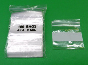 100 WHITE BLOCK 4x 4 ZIP LOCK BAGS WITH WRITEABLE 2Mil CLEAR POLY 10cm x 10cm ZIP LOCK (6E) NOVELTOOLS