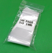 100 3x 5 WHITE BLOCK ZIPLOCK BAGS 2Mil CLEAR POLY WRITEABLE ZIP LOCK 7.6cm x 13cm (5E) NOVELTOOLS