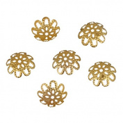 Gold Hollow Flower Filigree Loose Spacer Beads End Caps Crafts Finding Jewellery Making DIY