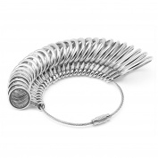 Flexzion Ring Sizer Finger Sizing Measuring Jewellery Accurate Tool Stainless Iron Metal Size 1-13 with Gauge Set of 27 pcs Circle Models in Silver